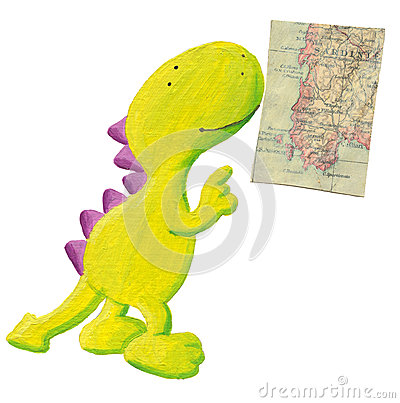 Cute dragon studying old geography map