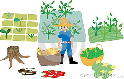 Farmer with farm ecosystem elements