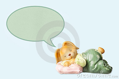 Cute dreaming baby rabbit toy
