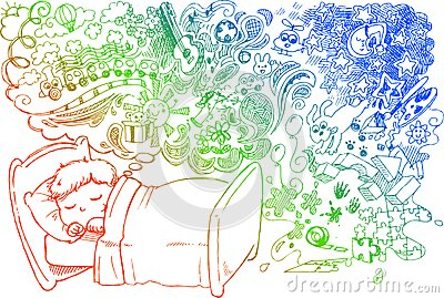 Cute dreaming child vector
