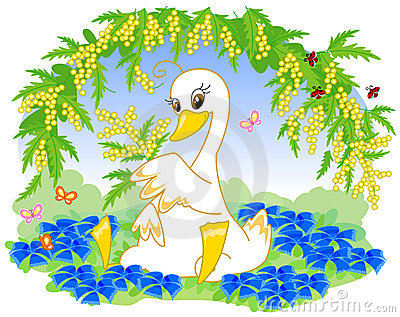 Cute swan with flowers