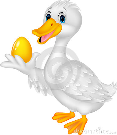 Free Cute Duck Holding Golden Egg Royalty Free Stock Images - 45710019