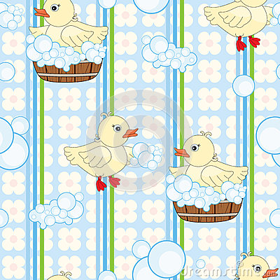 Cute ducks seamless background