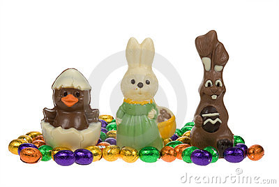 Cute easter bunnies and chick