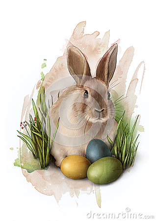 Free Cute Easter Bunny In Grass With Three Colourful Painted Eggs  , Sketch Royalty Free Stock Image - 68382876