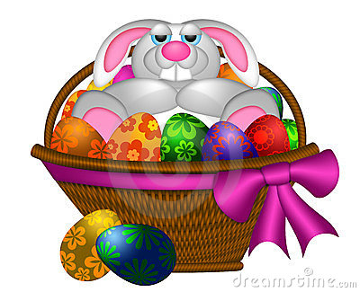 Cute Easter Bunny Rabbit Laying in Egg Basket