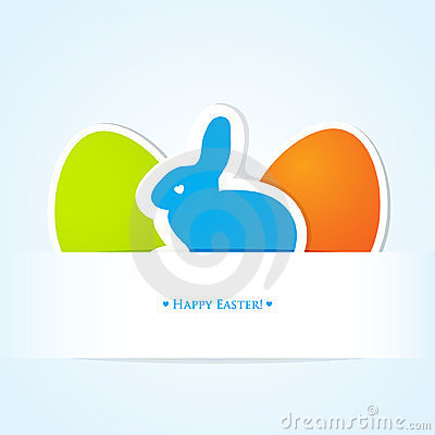 Cute easter card with blue bunny and two eggs