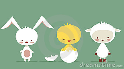 Cute easter characters