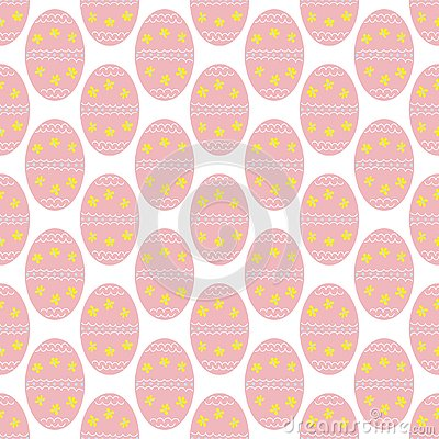 Cute Easter eggs with flowers and dots seamless pattern Vector Illustration