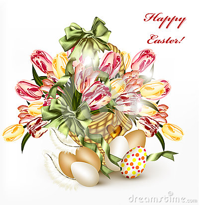 Free Cute Easter Greeting Card With Basket Full Of Realistic Tulips Stock Photos - 28913603