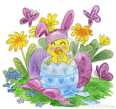 Cute easter chick watercolor