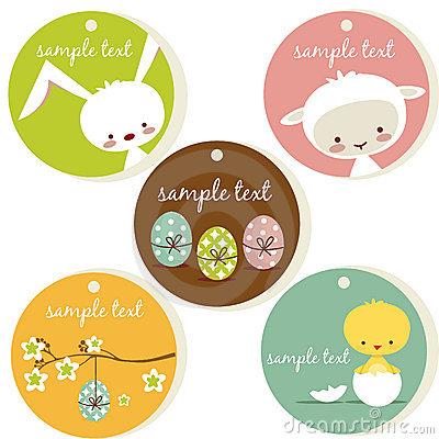 Free Cute Easter Tags Stock Images - 19111594