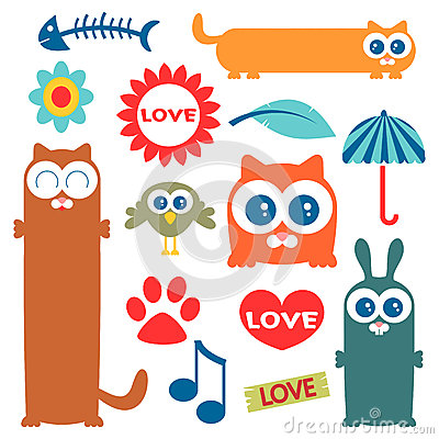 Cute elements for design
