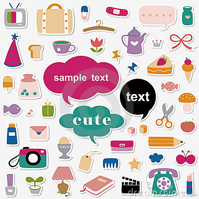 Free Cute Elements Sticker Collection Stock Photography - 15362812