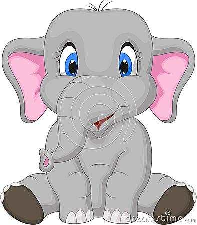 cute-elephant-cartoon-sitting-illustration-34612566