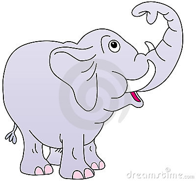 Cute elephant, trunk up,