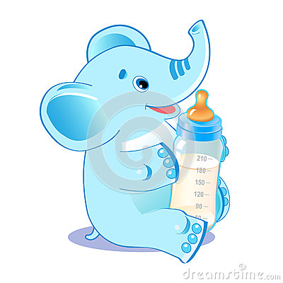 Free Cute Elephant With Milk Bottle. Welcome Baby Boy. Stock Images - 69767614