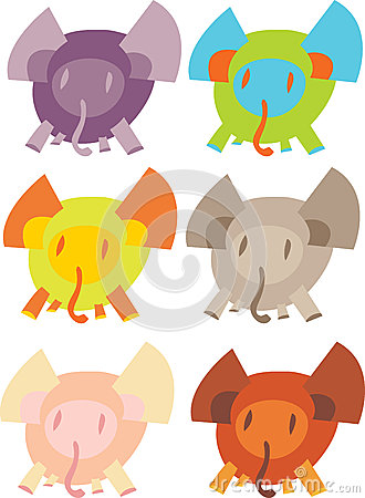Cute Elephants Over White