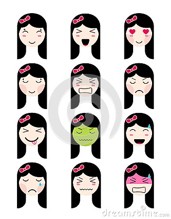 cute emoji collection kawaii asian girl face different moods stock vector image 89827919