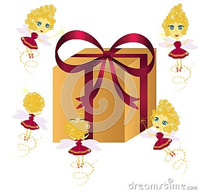 Cute fairies with gift