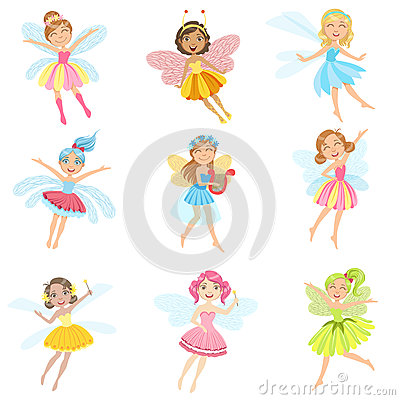 Free Cute Fairies In Pretty Dresses Girly Cartoon Characters Set Stock Photo - 75953660