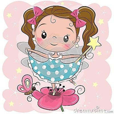 Cute fairy on the flower Vector Illustration