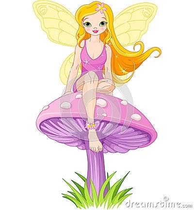 Free Cute Fairy On The Mushroom Stock Images - 40337334