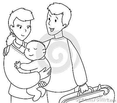 Cute family bw