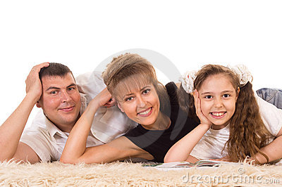 Cute family lying