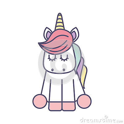 Cute fantasy unicorn icon Vector Illustration