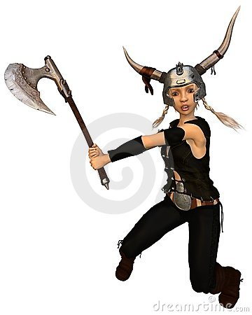 Cute Fantasy Viking Warrior Girl with Axe