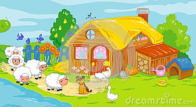 Cute farm and animals. Children illustration.