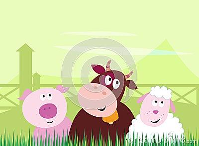 Cute farm animals - Pig, Cow and Sheep