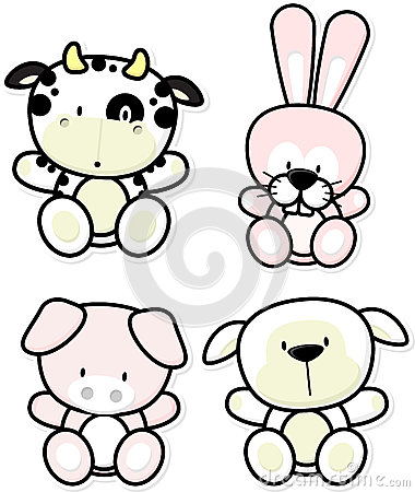 Cute farm animals Vector Illustration