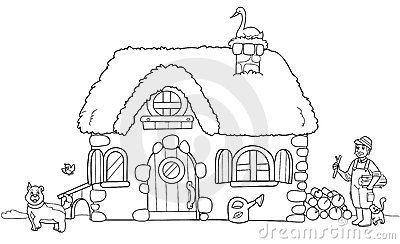 Cute Farm Coloring Illustration