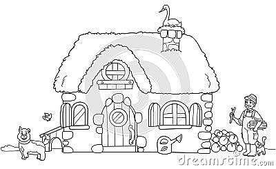 Cute farm, coloring illustration