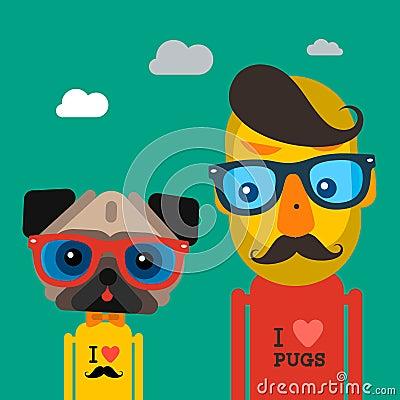 Cute fashion Hipster man and pug dog pet