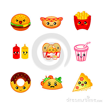 Free Cute Fast-food Icons Royalty Free Stock Photography - 60396777