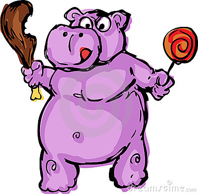 Cute fat greedy hippo