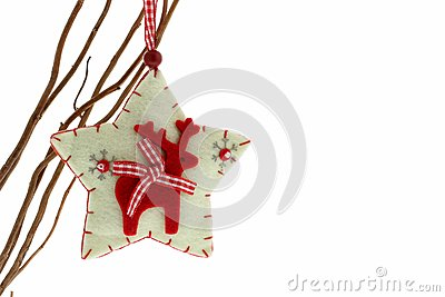 Cute felt reindeer Christmas decoration