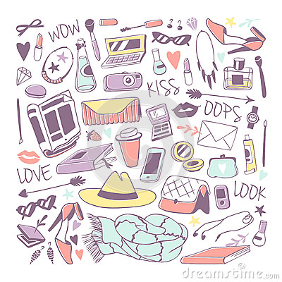 Free Cute Feminine Stuff Hand Drawn Vector Illustration. Royalty Free Stock Photos - 84517918