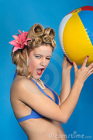 Free Cute Fifties Style Pin-up Girl With Ball Royalty Free Stock Photo - 7900975