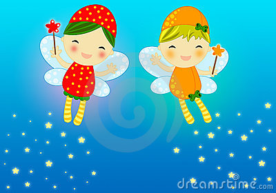 Cute firefly fairies