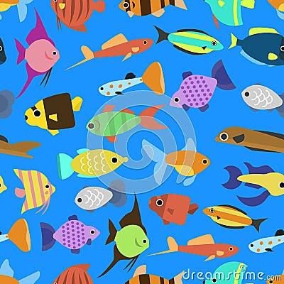Free Cute Fish Vector Illustration Seamless Pattern Royalty Free Stock Photo - 79573465