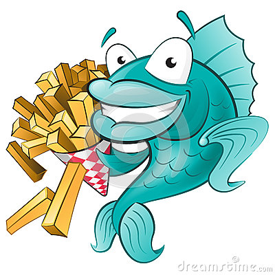 Free Cute Fish With Chips Royalty Free Stock Photo - 35761875