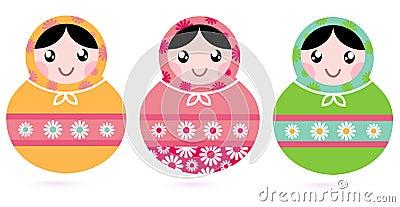Cute floral colorful Matryoshka set