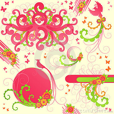 Cute floral design elements