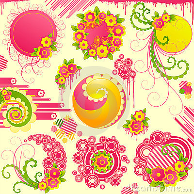 Free Cute Floral Design Elements. Stock Photos - 4453613