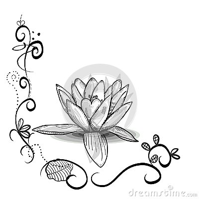 Free Cute Floral Frame With Lotus Flower. Tattoo Design. Black White Flowers Stock Photography - 119492452