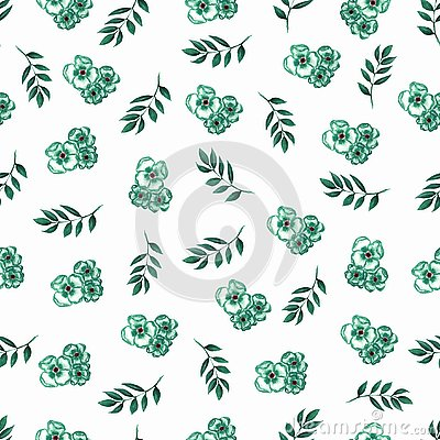 Cute Floral pattern of green small flowers and leaves. Seamless hand watercolor texture. Elegant template for fashion prints. Stock Photo